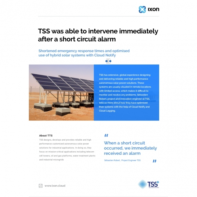 TSS4U collected machine data and created alarms of important events